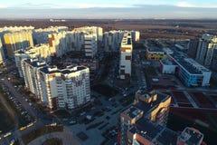 Вид с воздуха нового района Vatutinki, регион Troitsk, Россия стоковое изображение rf