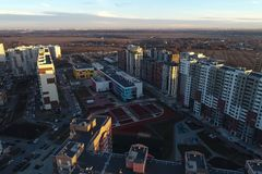 Вид с воздуха нового района Vatutinki, регион Troitsk, Россия стоковое фото