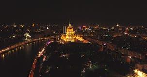 Вид с воздуха ночи день kremlin moscow города напольный над взглядом света города Съемка ночи панорамная на весне Лето, 4K акции видеоматериалы