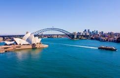 Вид с воздуха оперного театра и гавани Сиднея Стоковая Фотография