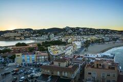 Вид с воздуха от замка городка полуострова, Испании стоковые изображения rf