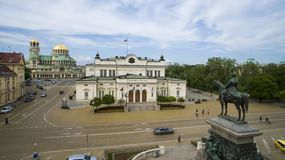 Вид с воздуха памятника освободителя царя и парламента, 1-ое мая 2018, Софии, Болгарии Стоковые Изображения