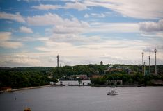 Вид с воздуха панорамы к Stokholm от точки зрения Katarina на Stokholm, Швеции Стоковые Изображения RF