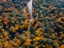 Вид с воздуха парка осени с озером стоковые изображения rf