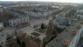 Вид с воздуха перекрестка городка видеоматериал