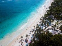 Вид с воздуха пляжа Pescadores в Tulum Мексике Стоковые Изображения