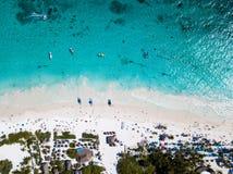 Вид с воздуха пляжа Pescadores в Tulum Мексике Стоковая Фотография RF