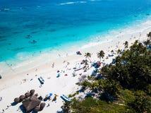 Вид с воздуха пляжа Pescadores в Tulum Мексике Стоковые Фотографии RF
