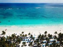 Вид с воздуха пляжа Pescadores в Tulum Мексике Стоковые Фото