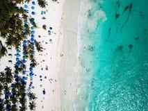 Вид с воздуха пляжа Pescadores в Tulum Мексике Стоковая Фотография