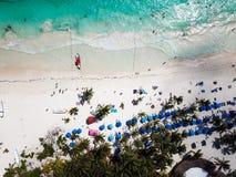 Вид с воздуха пляжа Pescadores в Tulum Мексике Стоковое фото RF