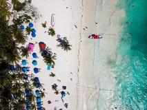 Вид с воздуха пляжа Pescadores в Tulum Мексике Стоковое Фото