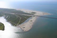 Вид с воздуха побережья мексиканского залива Техаса, остров Галвестона, Соединенные Штаты Америки Стоковые Фото