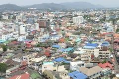 Вид с воздуха показанный плотность жилого дома стоковые фотографии rf