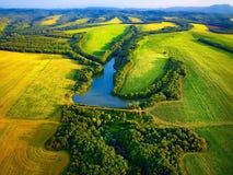 Вид с воздуха полей с озером Стоковая Фотография RF