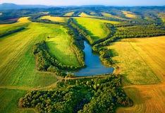 Вид с воздуха полей с озером Стоковые Фото