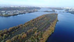 вид с воздуха Полет над городом Киева, Украины Видео от вертолета 4K, UHD, ультра разрешение HD сток-видео