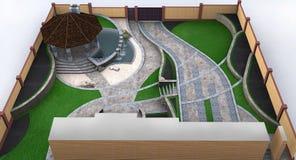Вид с воздуха полного сада благоустраивая, архитектура пригорода Стоковое Изображение RF