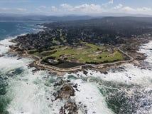Вид с воздуха полуострова Тихого океана и Монтерей Стоковая Фотография RF