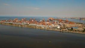 Вид с воздуха порта груза промышленный manila philippines сток-видео