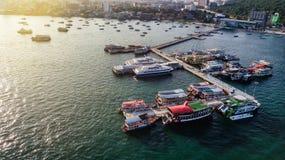 Вид с воздуха порта путешествия в Паттайя, Таиланде Стоковое фото RF