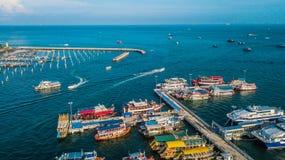 Вид с воздуха порта путешествия в Паттайя, Таиланде Стоковая Фотография