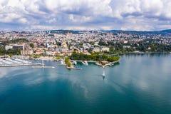Вид с воздуха портового района Ouchy в Лозанне Швейцарии стоковое фото