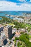 Вид с воздуха пригородов Сиднея и ботанического сада Стоковая Фотография