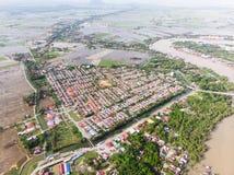 Вид с воздуха проживающей области стоковые фотографии rf