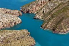Вид с воздуха раздела горизонтальных водопадов на Broome в западной Австралии стоковые изображения rf