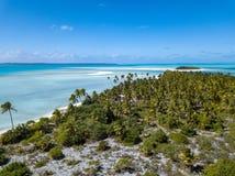 Вид с воздуха рая лагуны aitutaki Острова Кука полинезии тропический Стоковое Изображение