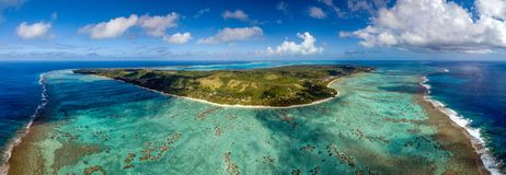 Вид с воздуха рая лагуны aitutaki Острова Кука полинезии тропический Стоковое Изображение RF