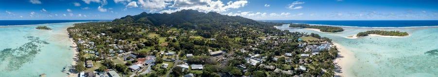 Вид с воздуха рая Острова Кука Rarotonga полинезии тропический Стоковое Изображение