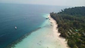 Вид с воздуха рая Ko Kradan, Таиланда акции видеоматериалы