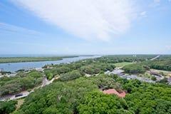 Вид с воздуха реки Matanzas в Августине Блаженном, Флориде США Стоковые Изображения