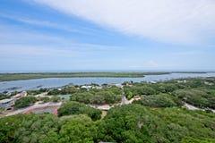 Вид с воздуха реки Matanzas в Августине Блаженном, Флориде США Стоковые Фото