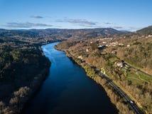 Вид с воздуха реки Sil в Галиции Стоковое фото RF