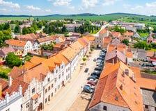Вид с воздуха ренессансных домов в Slavonice, чехии Стоковая Фотография RF
