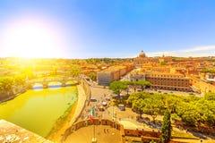 Вид с воздуха Рима захода солнца Стоковые Изображения