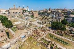 Вид с воздуха римского форума в Риме, Италии стоковые фото
