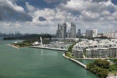 Вид с воздуха роскошного яхт-клуба на заливе Keppel, Сингапуре Стоковое Фото