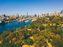 Вид с воздуха сада и гавани Сиднея ботанического Стоковое Изображение