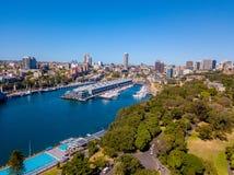 Вид с воздуха сада и парка Сиднея ботанического Стоковые Фото