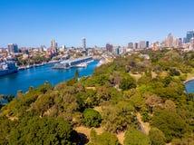 Вид с воздуха сада Сиднея ботанического Стоковая Фотография RF