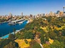 Вид с воздуха сада Сиднея ботанического Стоковое Изображение