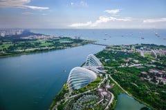 Вид с воздуха садов заливом в Сингапур Стоковое Изображение