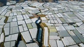 вид с воздуха Самая большая концентрация парников в мире almeria Испания видеоматериал