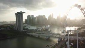 Вид с воздуха Сингапура сток-видео