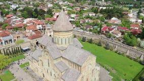 Вид с воздуха собора Svetitskhoveli видеоматериал