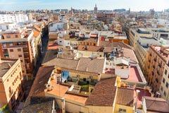 Вид с воздуха старого городка в Валенсия, Испании стоковое изображение rf
